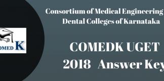 COMEDK UGET 2018 Answer Key