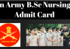 Indian Army B.Sc Nursing 2018 Admit Card