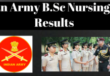 Indian Army B.Sc Nursing 2018 Results
