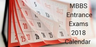 MBBS Entrance Exams Calendar 2018