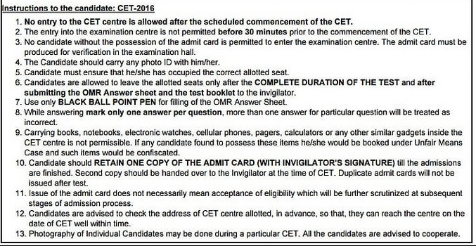 IPU CET 2018 Admit Card Instructions