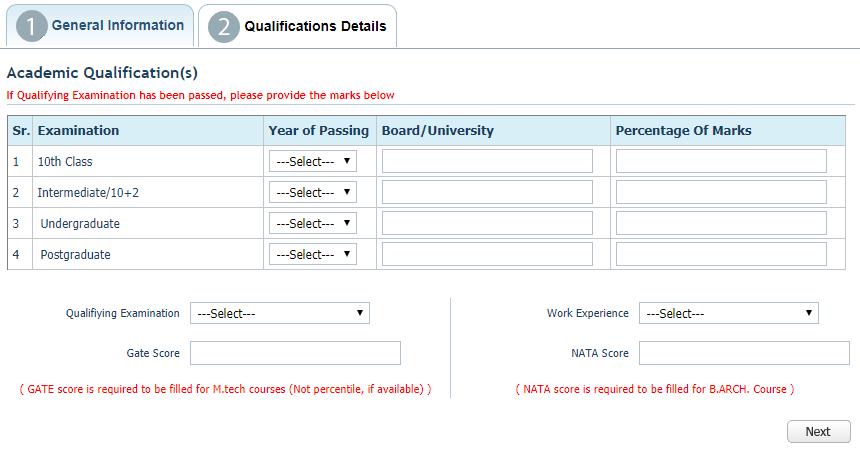 IPU CET 2018 Application Form Qualification Details