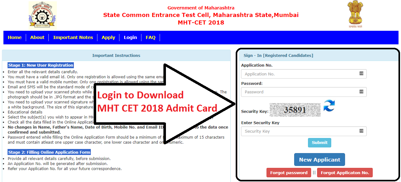 MHT CET 2018 Admit Card