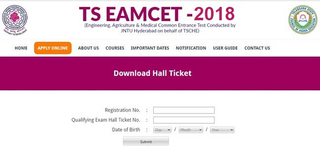 TS EAMCET 2018 Admit Card Download