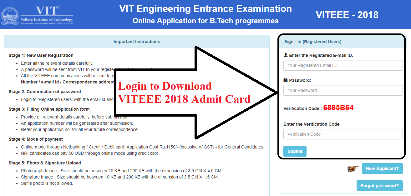 VITEEE 2018 Admit Card Download using Official Website
