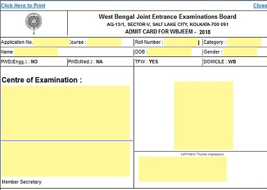 WBJEE 2018 Admit Card Contents