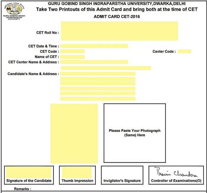 IPU CET 2018 admit card