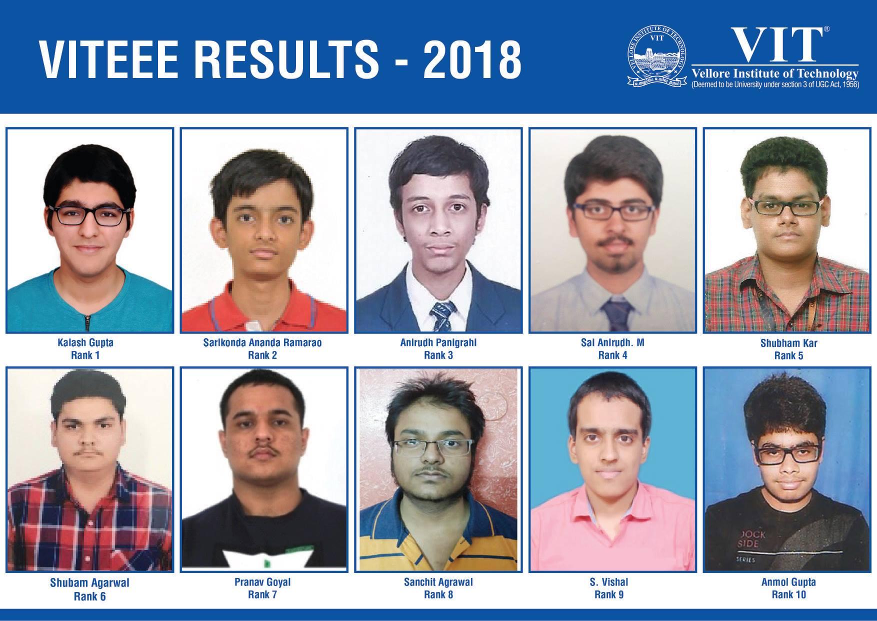 Delhi boy tops VITEEE 2018 Results