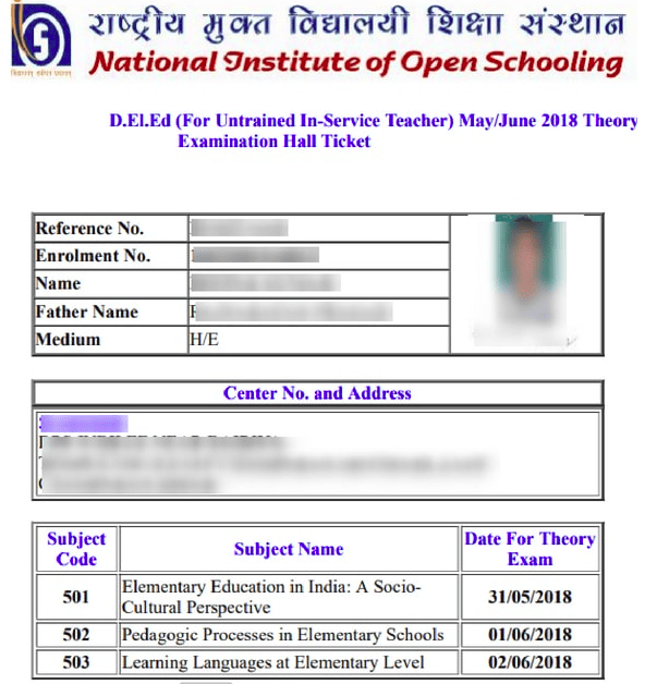 NOIS DELED Admit Card 2018