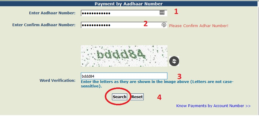 PFMS Payment using Aadhaar Number