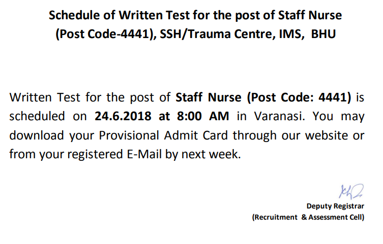 BHU Staff Nurse Official Notification