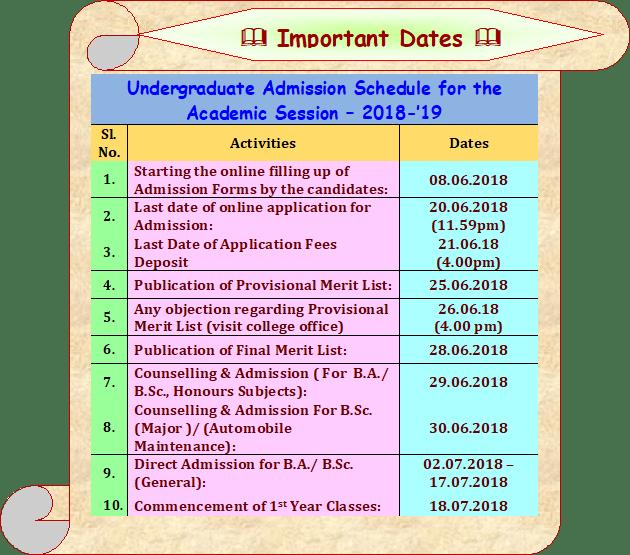 Bajkul Milani Mahavidyalaya Admission Dates