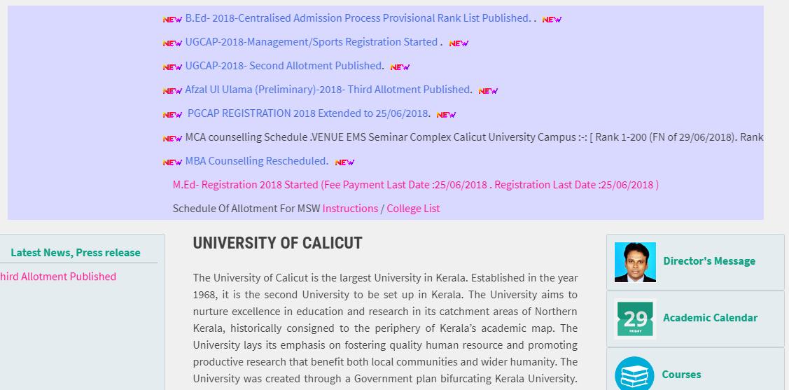 Calicut University B.Ed Rank List 2018
