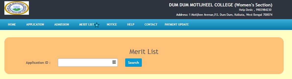 Dum Dum Motijheel College Merit List 2018