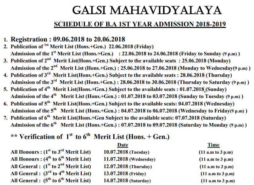 Galsi Mahavidyalaya Admission Schedule