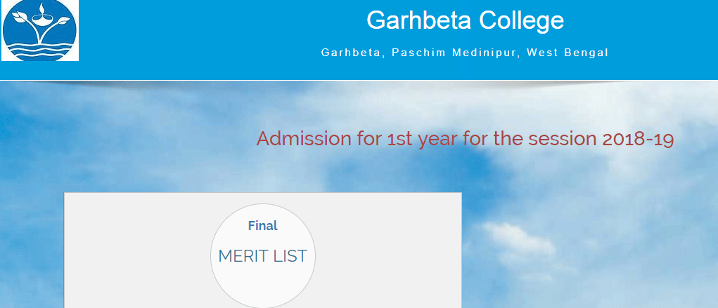 Garhbeta College Merit List 2018