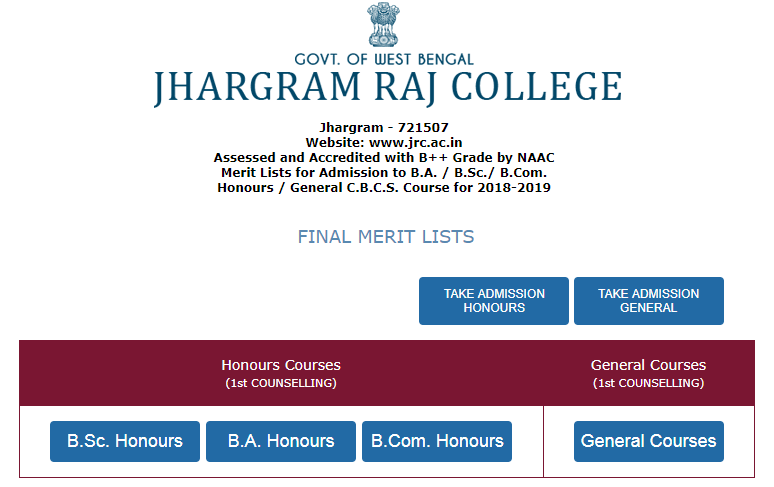 Jhargram Raj College Merit List 2018