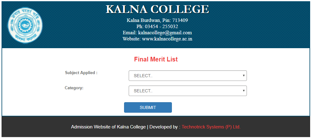 Kalna College Final Merit List 2018
