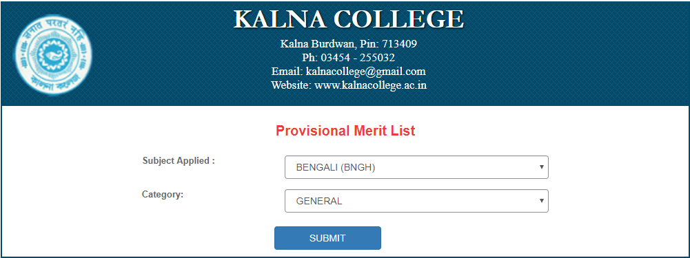kalna college merit list 2018