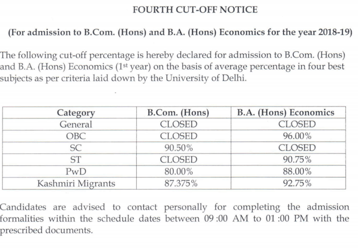 Shri Ram College of Commerce Cut Off 2018