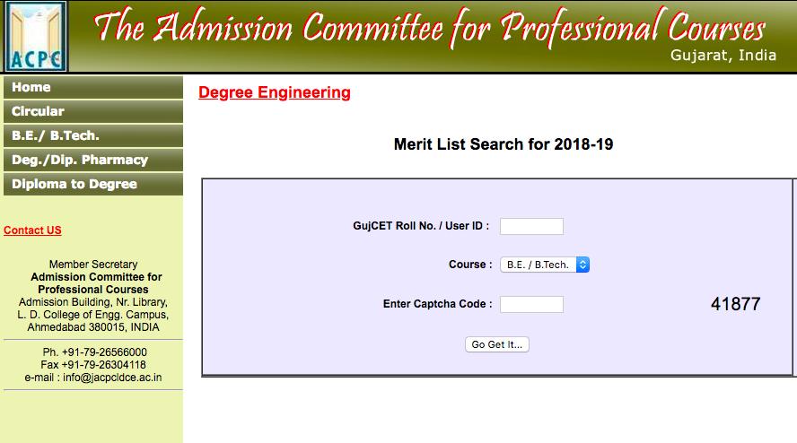 ACPC D2D Merit List 2018
