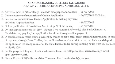 Ananda Chandra College PG Merit List 2018