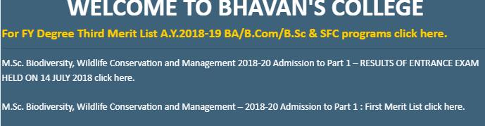 Bhavans College Merit List 2018