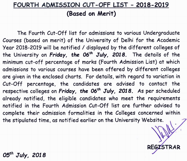 DU Fourth Cut Off 2018