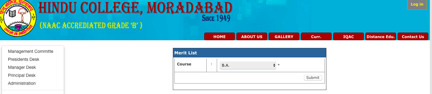 Hindu College Moradabad Merit List 2018