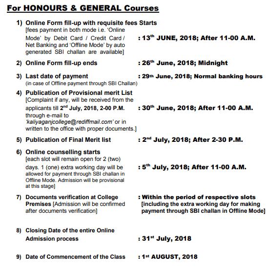 Kaliyaganj College Counselling Schedule 2018