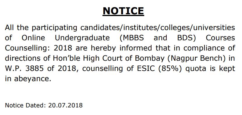 NEET Bombay HC Counselling Stopped