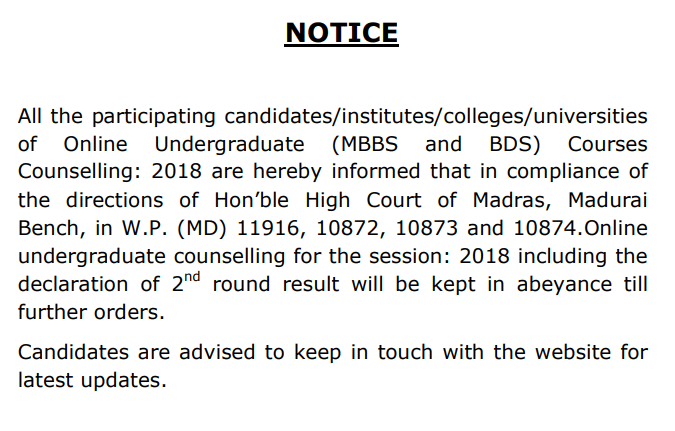 NEET Counselling Round 2 Result Delayed