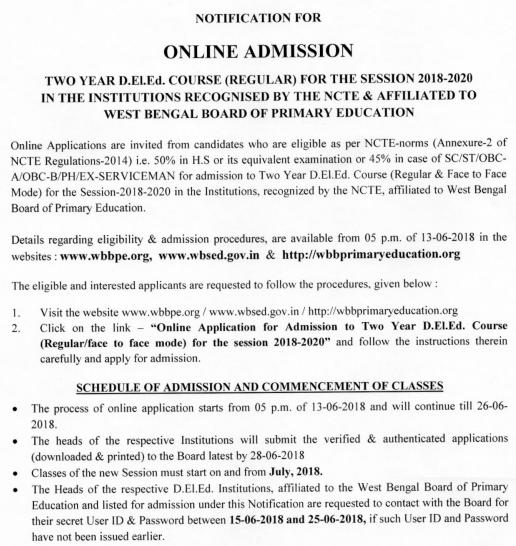 WBBPE Deled Merit List 2018