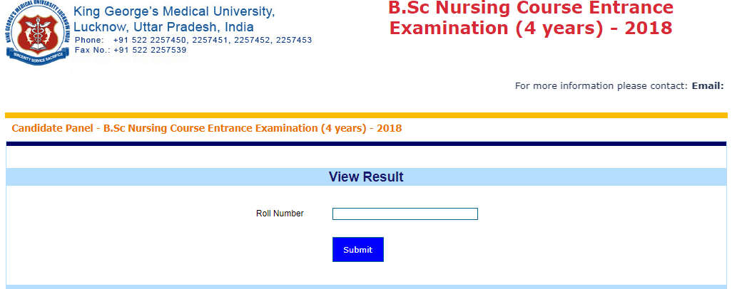 KGMU B.Sc Nursing Result 2018