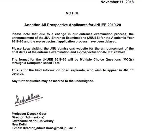 JNUEE Notice
