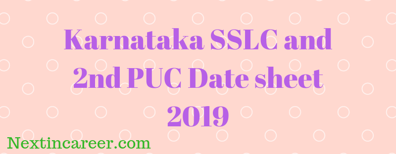 Karnataka Board Date Sheet 2019