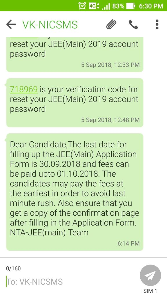 JEE Main Registration 2019 Message