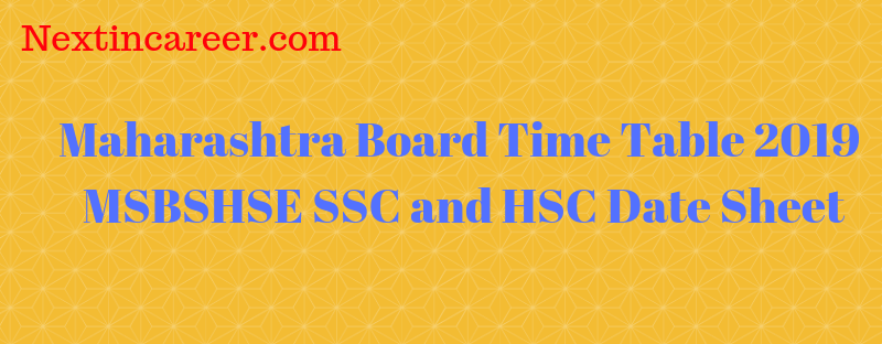 Maharashtra Board 12th Time Table 2019 Maha Board Hssc Date Sheet