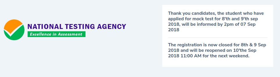 JEE Main 2019 Mock Test Registration Closed