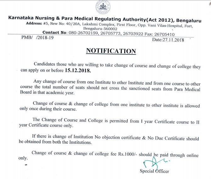 Change of Course and College Notification