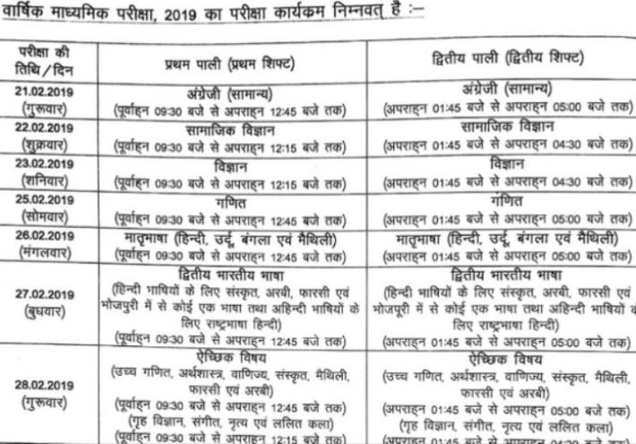 bihar board 10th date sheet 2019