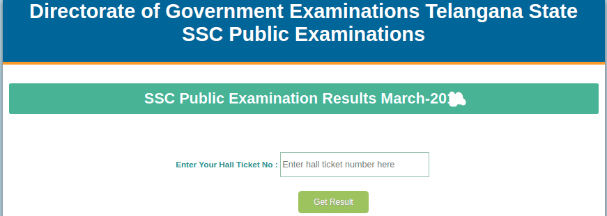 Telangana State Board 10th Class Result Login Section