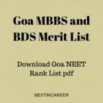 Goa MBBS and BDS Merit List